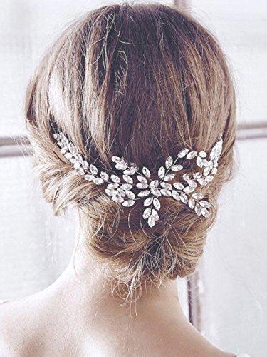 Peineta de boda Handcess, para lateral de cabello, adorno de pelo para novia, con brillantes piedras de imitacion, tocado para novia y dama de honor (plata)