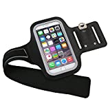 Jiale Sports Gym Running Biking Jogging Excercise Workout Adjustable Armband Case For Apple iPhone 6 5.5 inch & Samsung Galaxy S6 / S6 Edge 5.1 inch - Also Fits for iPhone 5/5s/5c & iPod Touch 5G & Small To XL Big Arms,Fit for Men and Women - Key Holder-Credit Card Cases-Pocket Pouch For Headphones,LightWeight,Reflective, Sweat Resistant, Washable, Breathable Padding--(Black)