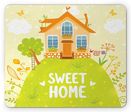 Home Sweet Home Mouse Pad by Ambesonne, Cartoon Style Cottage Hut on Green Hilltop with Flourishing Garden Morning, Standard Size Rectangle Non-Slip Rubber Mousepad, - Hut The Garden