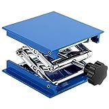 Lab Lifting Platform Stand Adjustable Corrosion Resistance Blue Electroplated Aluminum Rack Scissor Jack Lifter 100 x 100mm