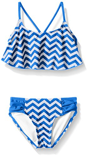 - Kanu Surf Little Girls' Alania Flounce Bikini Beach Sport 2-Piece Swimsuit, Alexa Royal Chevron, 4