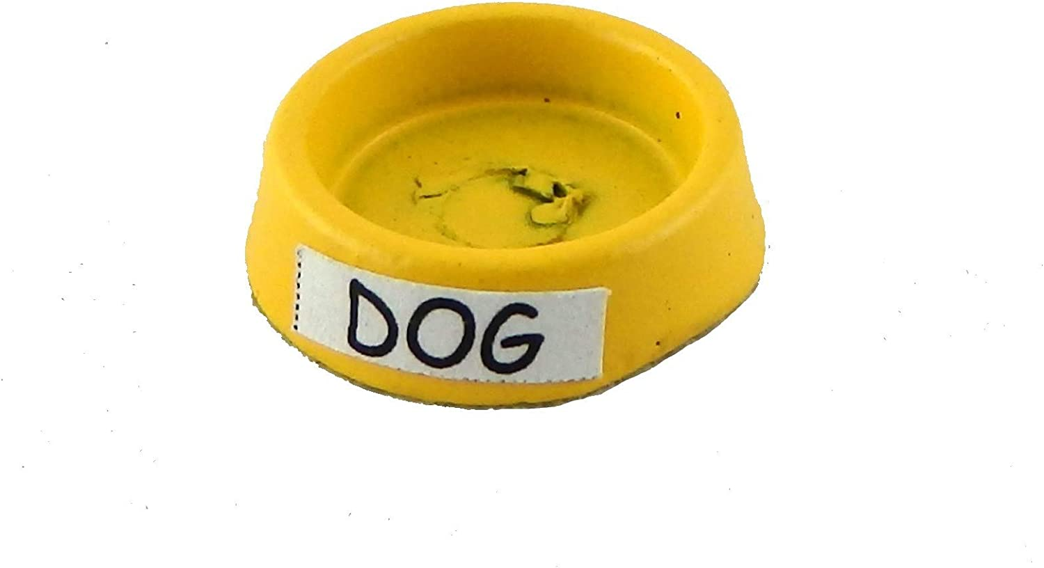Melody Jane Dolls Houses House Miniature 1:12 Scale Pet Accessory Yellow Metal Dog Food Water Dish