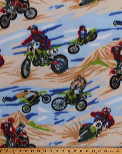 Fleece Dirt Bikes Dunes Motorcycles Motocross Racing Sports Fleece Fabric Print by The Yard (5935A-7B-bikes) (Dirt Bike Fleece Fabric)