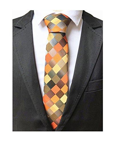 Men Yellow Orange Grey Plaid Silk Ties Checks Fashionable Colorfu Autumn Necktie ()