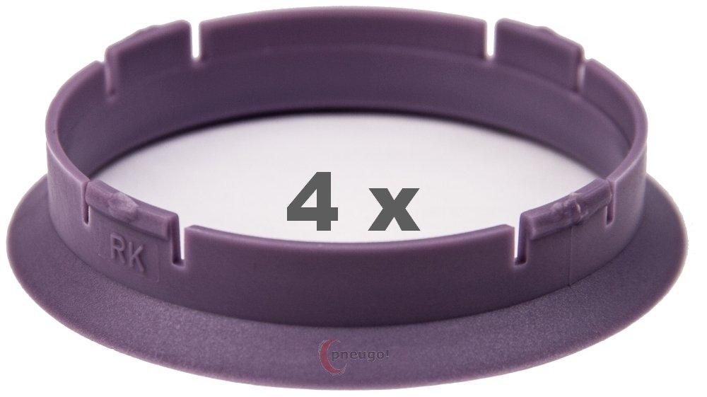 4 x Anillos de Centrado 63.3 mm a 60.1 mm lila/Purple Pneugo