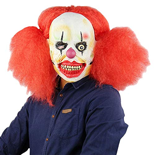 Nuoka Halloween Scary Costume Party Props Clown Mask Latex Pennywise Mask with Red Hair (Style B) -