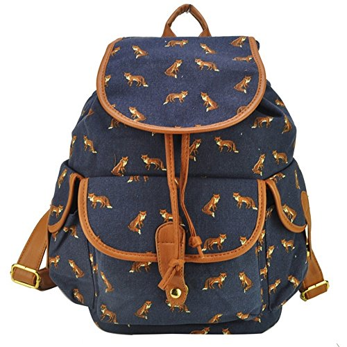 Free2mys® Girl's Swallow Canvas Backpack School Books Bag (Fox)