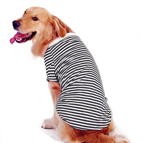 Petroom Dog Striped T-Shirt for Medium Large Dogs,Dog Cute Shirts, Breathable Cotton Dog Vest Black Stripe S (Best Striped T Shirt)