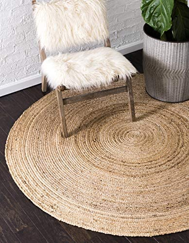 Unique Loom Braided Jute Collection Hand Woven Natural Fibers Natural Tan Round Rug 3 3 x 3 3