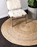 Unique Loom Braided Jute Collection Hand Woven Natural Fibers Natural Round Rug (3' 3 x 3' 3)