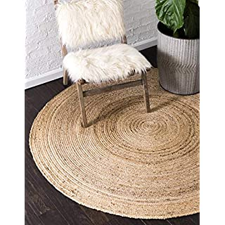 Unique Loom Braided Jute Collection Hand Woven Natural Fibers Natural/Tan Round Rug (8' 0 x 8' 0)