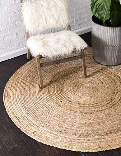 Round Contemporary Natural - Unique Loom Braided Jute Collection Hand Woven Natural Fibers Natural Round Rug (8' 0 x 8' 0)