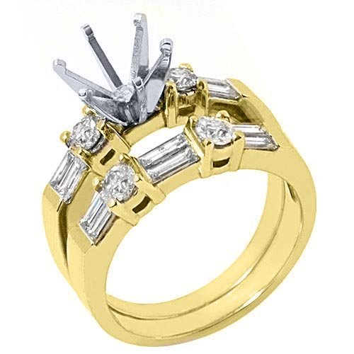 14k Yellow Gold Baguette Round Diamond Engagement Ring Semi Mount Set 1.26 Carats