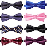 8 Pcs Adjustable Bow Ties Formal Tuxedo Bowtie for Men And Boys, Men's Butterfly Bow Tie for Wedding Party