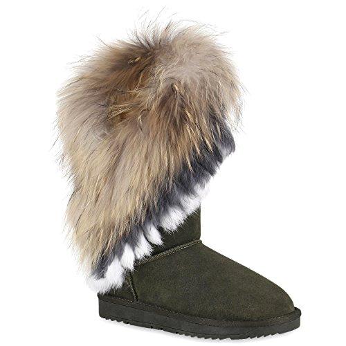 Damen Schlupfstiefel Warm Gefütterte Stiefel Leder Stiefeletten Wildleder-Optik Boots Profilsohle Schuhe Übergrößen Flandell Dunkelgrün Carlet