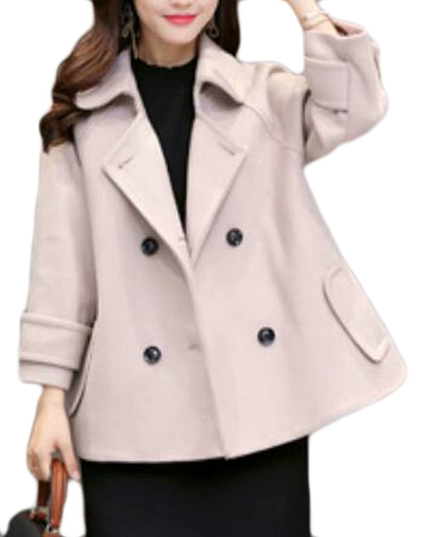 Pandapang Womens Classic Notched Lapel Cloak Wool-Blend Peacoat Jackets