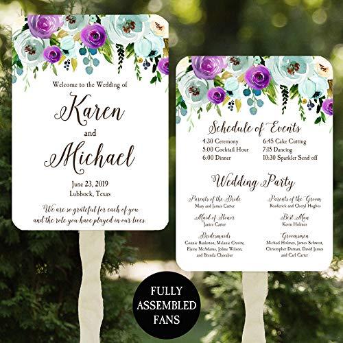 - Wedding Program Fans - Purple Blue Floral - 100 Count Assembled