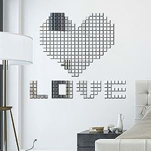100PCS Modern Mini Square 3D DIY Wall Mirror Party Decoration Decor Art Mural Stickers