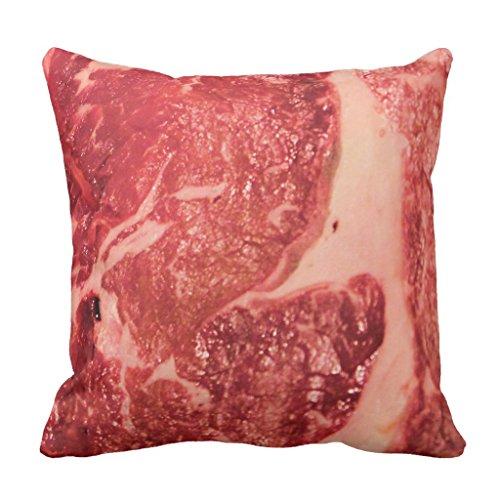 "Zazzle Raw Meat Ribeye Steak Texture Throw Pillow 16"" x 16"""