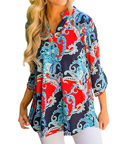 Shirts Manches Rouge Tunique Automne Tees Blouse New et Lache T Chemisiers Imprim Hauts Tops Longues Fashion Hiver Shirts Femmes OtFwU7