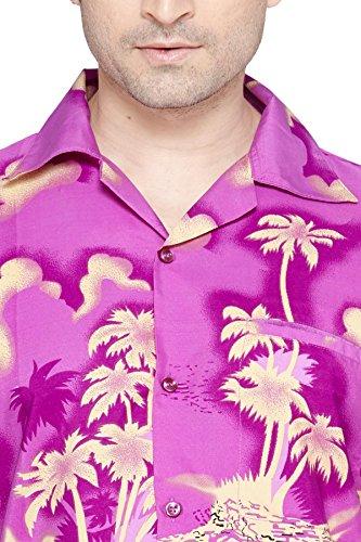 SWEET NECTAR Chemise hawaiienne classique, étroite, florale, décontractée à manches courtes pour hommes