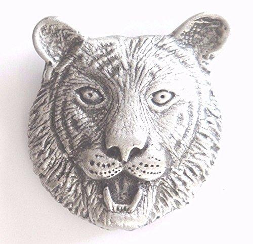Tiger's Head Pewter Brooch Pin Badge