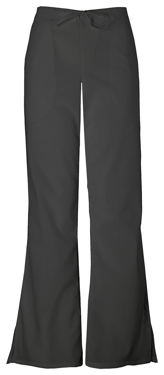 Cherokee Women's Natural Rise Flare Leg Drawstring Pant_Black_XX-Small,4101