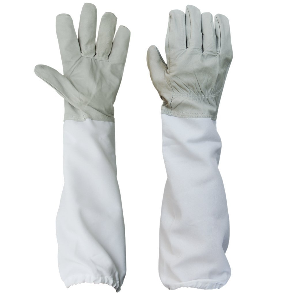 1 Pair of Beekeeping Protective Gloves with Vented Long Sleeves--- Grey and White BESTOPE FT032-US