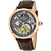 Men's Classic Winchester Tempest II 16k Rose Gold-Plated Brown Leather Strap Watch