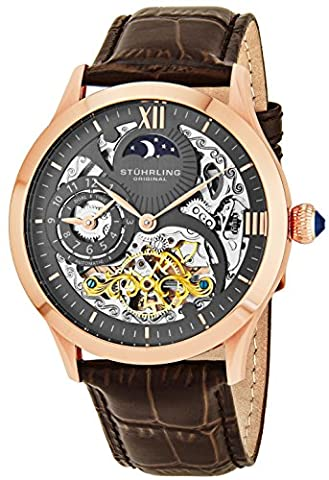 Stuhrling Original Men's Classic Winchester Tempest II 16k Rose Gold-Plated Brown Leather Strap (Brown Leather Geneva Watch)