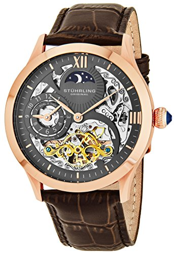 Automatic Chronograph Rose - Stuhrling Original Mens Rose Gold Tone Stainless Steel Automatic Watch, White Skeleton Dial, Rose Gold Accents, Dual Time, AM/PM Sun Moon, Brown Leather Band, 571 Series
