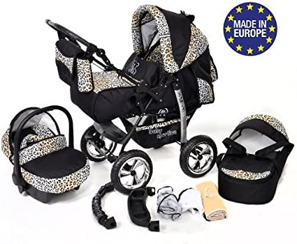 Pushchair /& Accessories Sportive X2 Car Seat 3-in-1 Travel System, Black /& Flowers Baby Pram with Swivel Wheels 3-in-1 Travel System incl