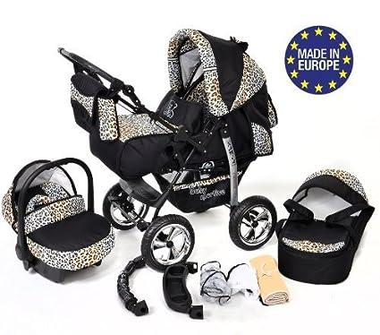 Kamil - Sistema de viaje 3 en 1, silla de paseo, carrito con capazo y silla de coche, RUEDAS ESTÁTICAS y accesorios (Sistema de viaje 3 en 1, negro y ...