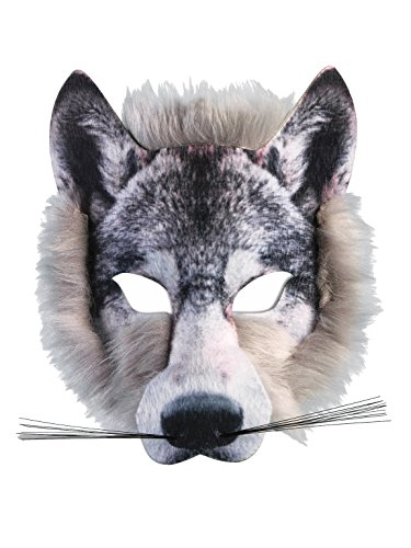 Forum Novelties Wolf Realistic Fur Face Mask, Grey, One Size -