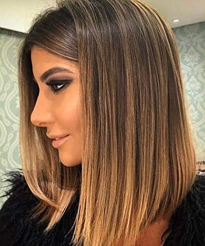 Full Shine 12 130 Density Pre Plucked Short Wigs Balayage Highlight Color 4 With Color 27 Honey Blonde Straight Bob With Baby Hair