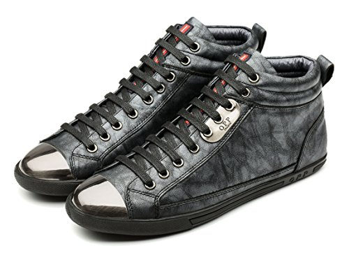 OPP Mens Casual Genuine Leather Specificity of Metal Accessories Design Mid-top Lace-up Shoes (11.5D(M) US, Black