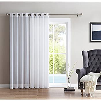 HLC.ME One Panel Extra Wide Sheer Voile Patio Door Grommet Curtain Panel for Sliding Doors (White) - 100