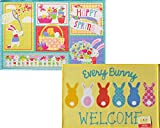 2 Pack Easter Bunny Welcome Printed Accent Rugs 20 inch x 30 inch