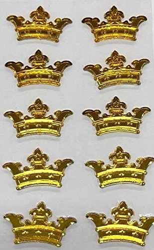 5 Sheets of Gold Crown Prince Princess Sticker Charms 3D Baby Shower or Birthday Self Adhesive Stickers Party Motives Favor (Princess Gold Crown Charm)