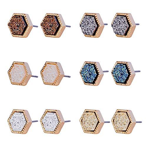 (JOYAGIFT Pretty Cute Druzy Crystal Round Stud Earrings Set for Women Girl Fashion Delicate Pierced Jewelry )