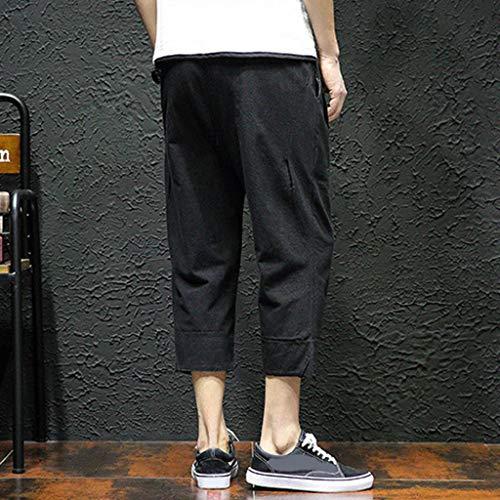 Allywit Men's Loose Fit Elastic Waist Patchwork Shorts Harem Capri Pants Lounge Linen Harem Pants Big and Tall Black by Allywit-Pants (Image #4)