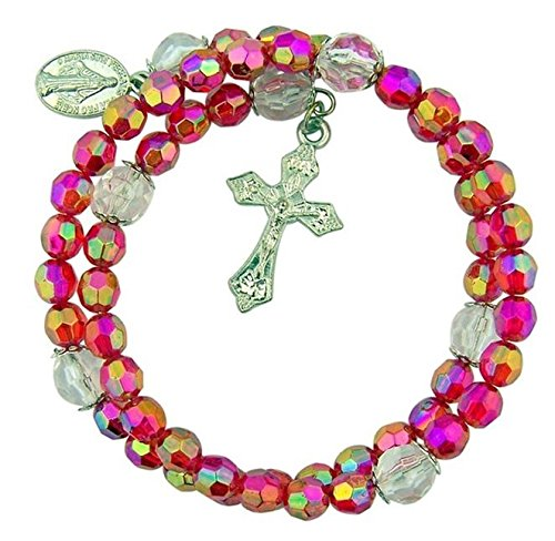 Acrylic-Prayer-Bead-Rosary-Wrap-Bracelet-with-Miraculous-Medal-8-Inch