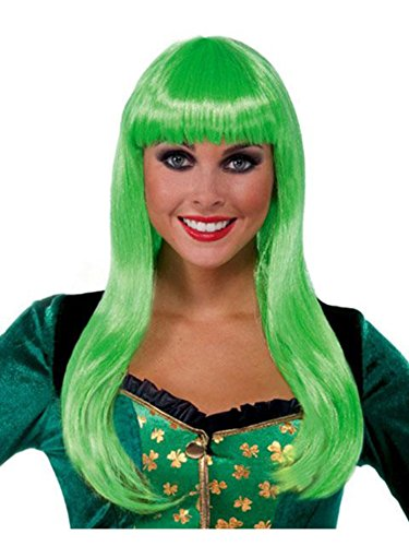 [Forum Novelties St. Patrick's Day Costume Wig, Irish Lass Lime Green, One Size] (Lime Green Wigs)