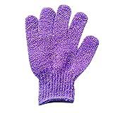 1Pair Shower Gloves Exfoliating Wash Skin Spa Bath Gloves Foam Bath Skid Resistance Body Massage Cleaning Loofah Scrubber 5 (Purple)