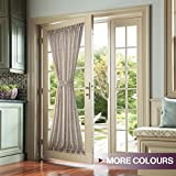 Curtains for French Doors Linen Textured Solid French Door Sheer Curtains with Bonus Tieback, 52