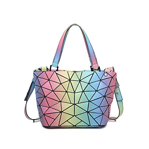 Moda Para Mujer Bolsa De Cubo Luminosa Estilo Japonés Bolso De Costura Geométrica Bolso De Mensajero De Hombro Bolso De Variedad RainbowTrumpet