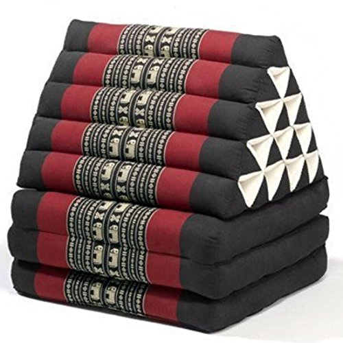 MCK Thai Triangle Pillow Fold Out Mattress Cushion extra big Size red black Day Bed THREE FOLDS 175x55x55 cm by mck