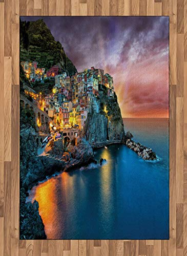 Vernazza Area Rugs 4'x5.7'ft,Fantastic Vivid Night View of Small Sea Coast Manarola Village Landscape Photo Rubber Backing Floor Carpet Throw Rug Runners for Bedroom Living Room, Multicolor ()