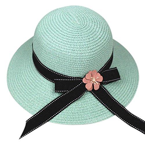 Sinwo Women Fashion Foldable Large Brim Crochet Summer Knit West Cowboy Sun Hat UV (C) Brim Crochet