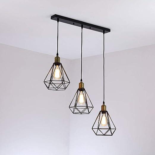 comeonlight® Vintage industrial Lámpara Colgante de Techo,3 luces de alambre Cage Iluminación colgante,E27,Negro